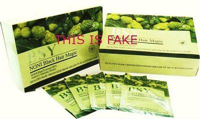 Fake Noni Back Hair Magic Packaging